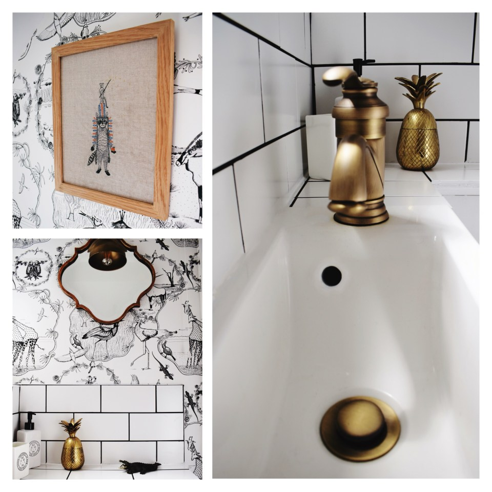 vintage-modern-bohemian-style-monochrome-and-brass-bathroom