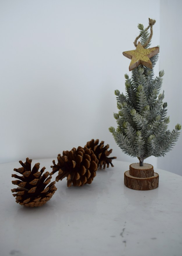 Winter Styling with Cox & Cox, christmas fir tree miniature, scatter stars wood metallic