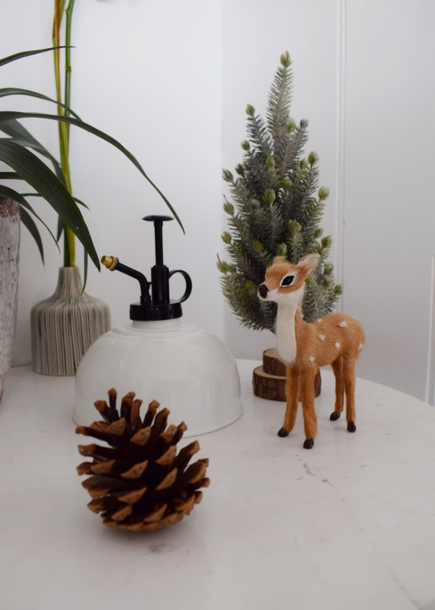 Winter Styling with Cox & Cox fawn, pine cones and miniature tree