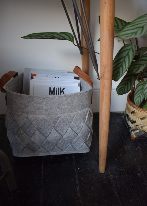 Winter Styling with Cox & Cox, grey chevron storage baskets leather handle