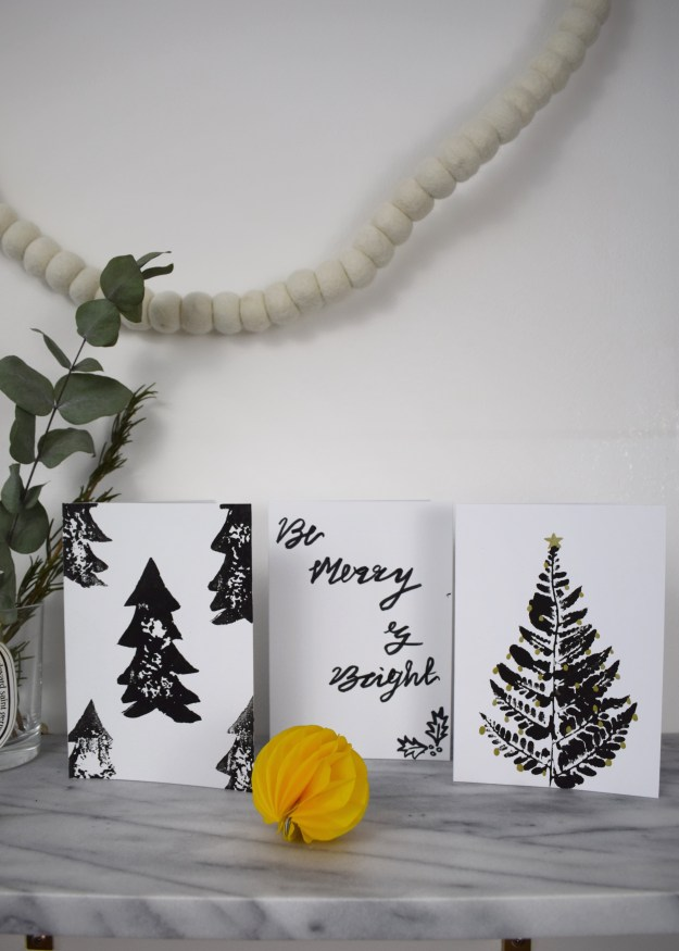 christmas craft, how to make christmas cards, scandinavian simple monochrome designs using brushstroke lettering, leaf and potato printing techniques