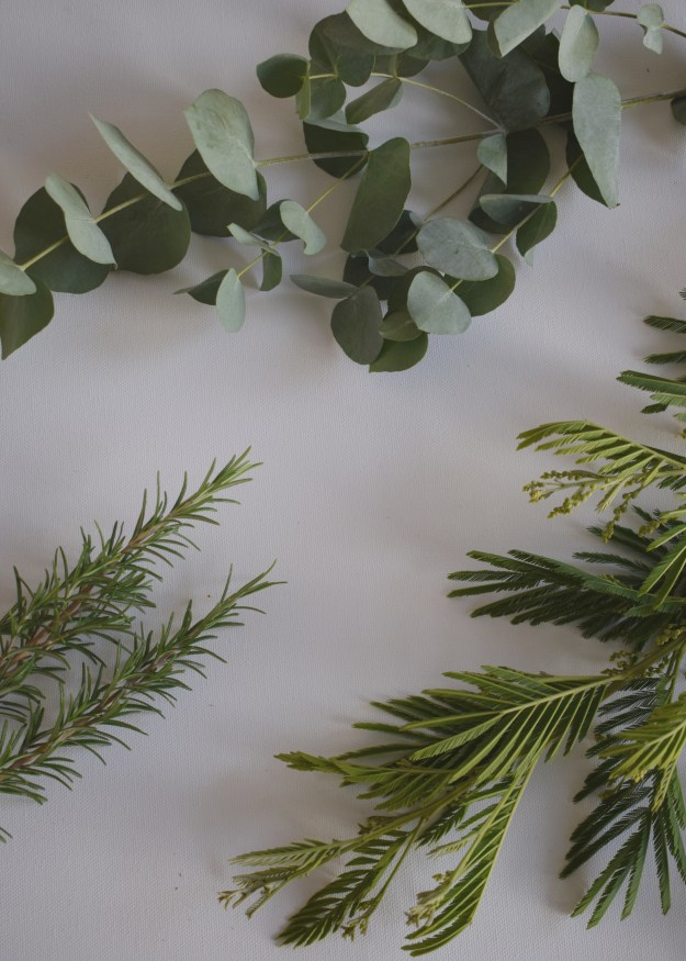 christmas craft, how to make christmas wreath, scandinavian fragrant simple eucalyptus rosemary decoration foliage