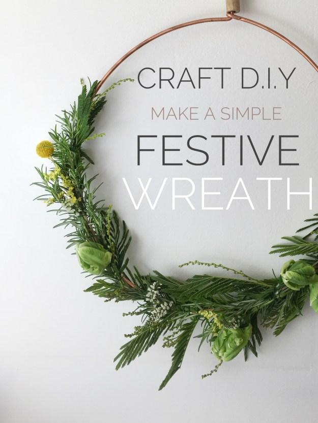 christmas craft, how to make christmas wreath, scandinavian fragrant simple rosemary mimosa decoration tutorial
