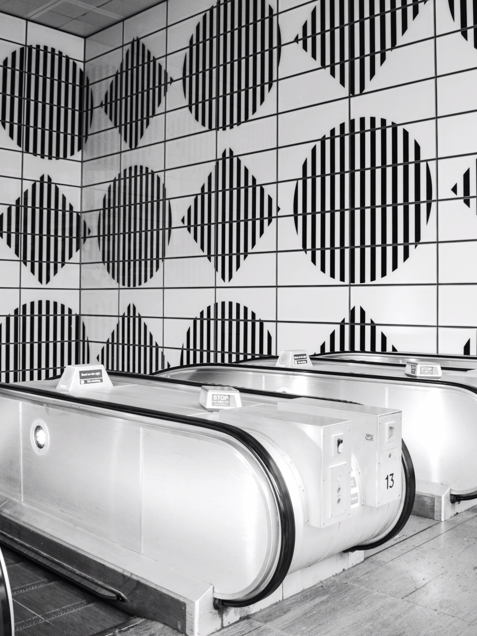mid century geometric tiles at tottenham court rd tube redesign london