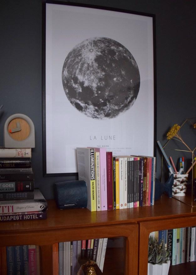 Interior design ideas wall art inspiration monochrome moon print modernist vintage home office