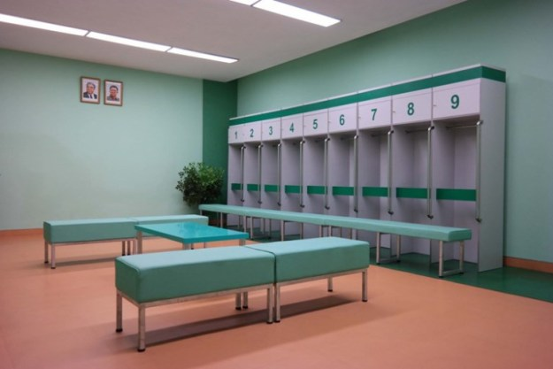 PINK inspiration in design and architecture, ideas for using pink interiors - North Korea Locker Room