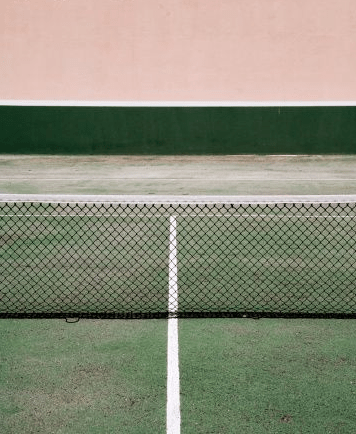 PINK inspiration in design and architecture, ideas for using pink interiors -pink green combination tennis court