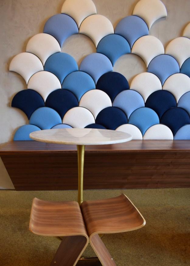 Pinkberry Islington London restaurant interiors bloggers guide scallop fishscale tiles fabric