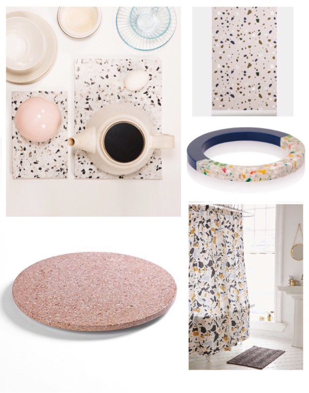 terrazzo interiors trend, uk homewares pattern where to buy decor inspiration, chopping board, wallpaper, bracelet