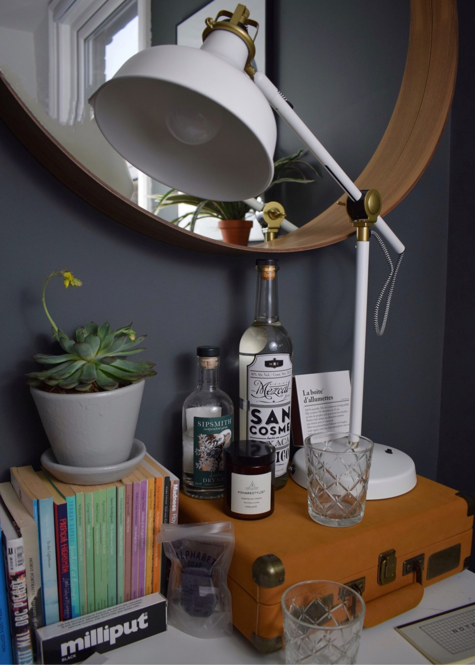 bohemian modern mid century vintage farrow downpipe modernist study home office styling ideas and inspiration, vintage stationary, crossley record player, drinks trolley record storage ranarp lamp