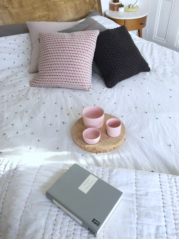 chasing slow book review, slow living cushions murmur houseology la redoute monochrome and pink interiors