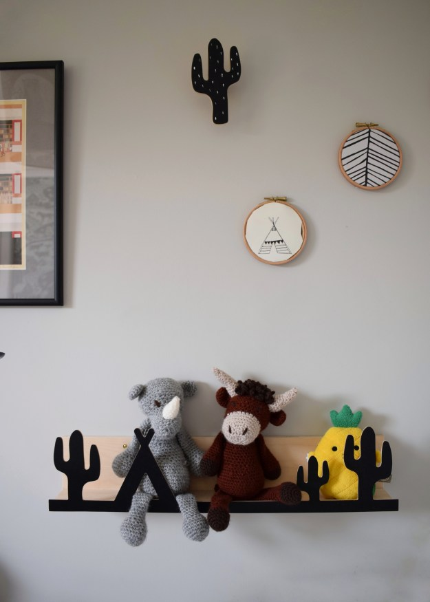 cactus shelf and wall hooks, farrow ball cornforth white, handmade crichet animal toys, childrens room decor with a scandi monochrome scheme