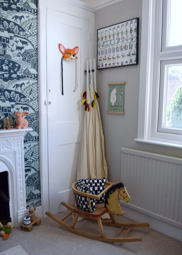 eclectic vintage colourful kids space interior design ideas, vintage rocking horse, fox mask