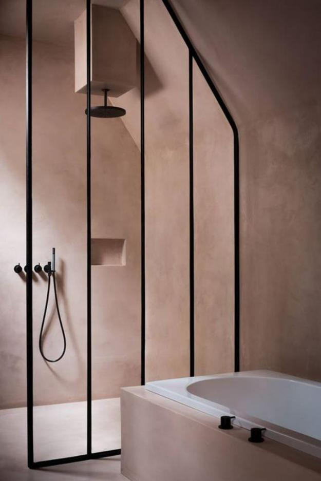 Colour The New Neutrals - Taupe, Greige and Clay, plaster walls bathroom