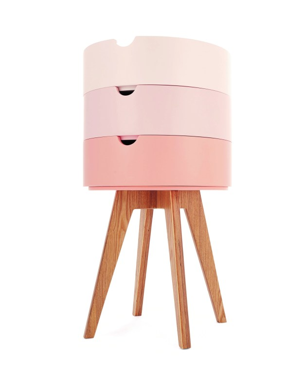 MADE.COM UK_Cairn_Bedside_table_Pink_wes anderson stacking bamboo tray table