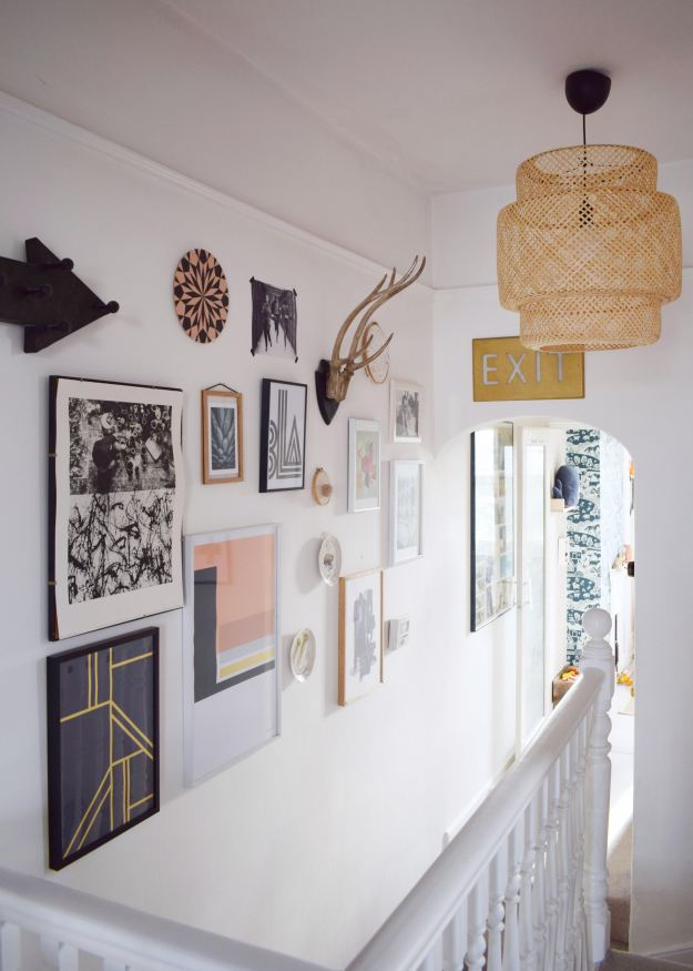 Bohemian geometric, Scandinavian gallery wall white hallway makeover project, revamp, Restyle, reveal, wicker lampshade (5)
