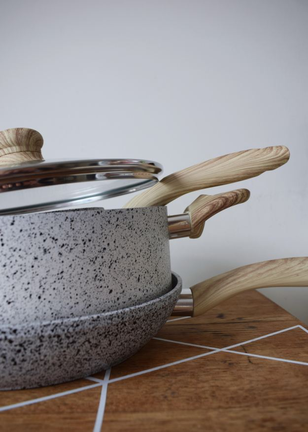 Hollys House Nagasaki Pans splatter monochrome japanese scandi design with wood handles, artisan kitchenware (6)