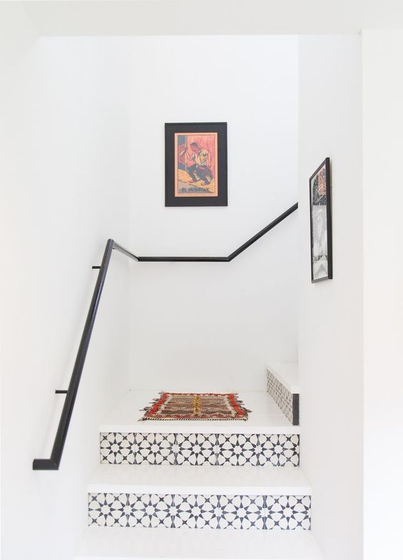 Interior Decor, ideas and inspiration for statement stairs design, monochrome encaustic pattern stairs