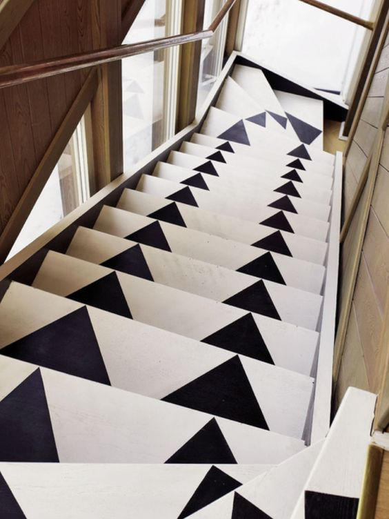Interior Decor, ideas and inspiration for statement stairs design, monochrome triangles