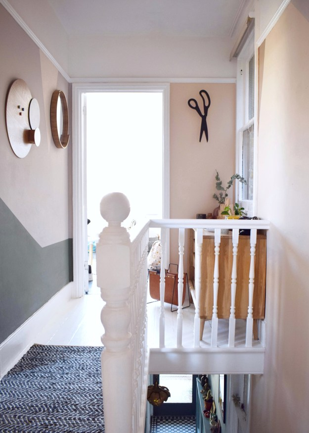 Revamp Restyle reveal hallway makeover, peach geometric colour wall, white painted floors, natural warm neurtral tones interior design (1)