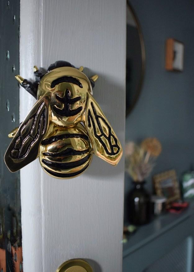 Farrow Ball Light Blue Front Door Exterior Eggshell and masonry paint in Porch Brass bumble bee door knocker chequerboard tiles