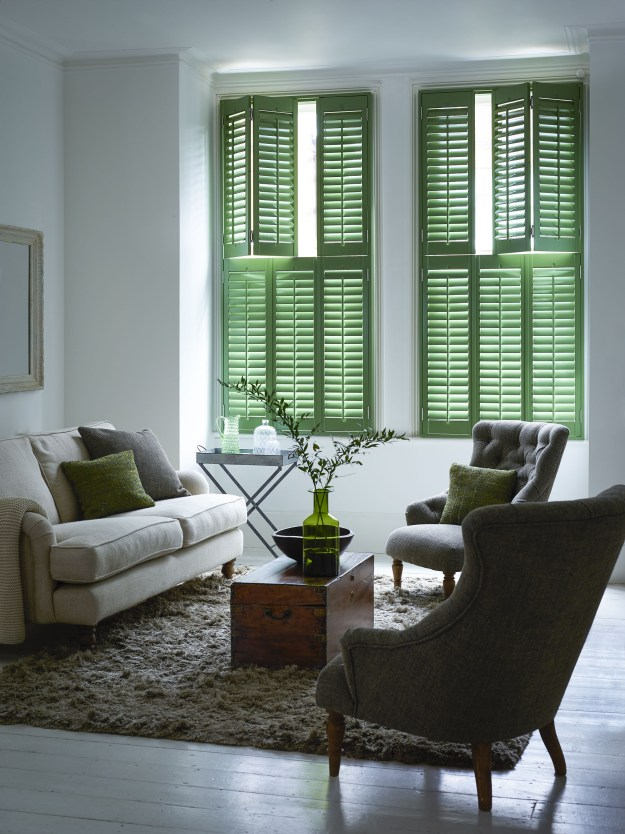 Living Room Tier on Tier Shutters Cracked Open Green Shutterly Fabulous Colourful shutter ideas and inspiration window dressing style