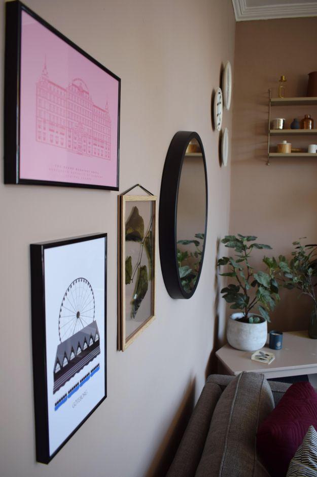Scandinavian Living Room makeover, muted pink, neutrals, mid-century simple design, West Elm, Farrow Ball Dead Salmon, Craft luxe, interior design ideas and inspiration