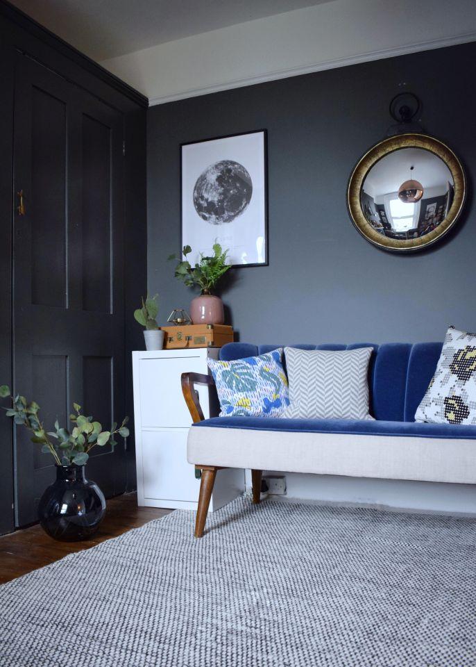 Downpipe grey farrow ball modernist study with art deco style sofa