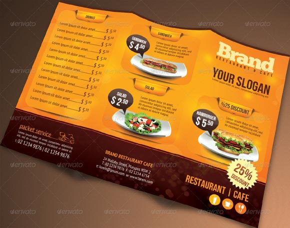 Editable Trifold Restaurant Brochure Template