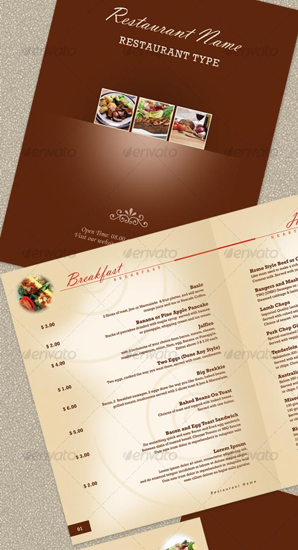 restaurant menu templates free