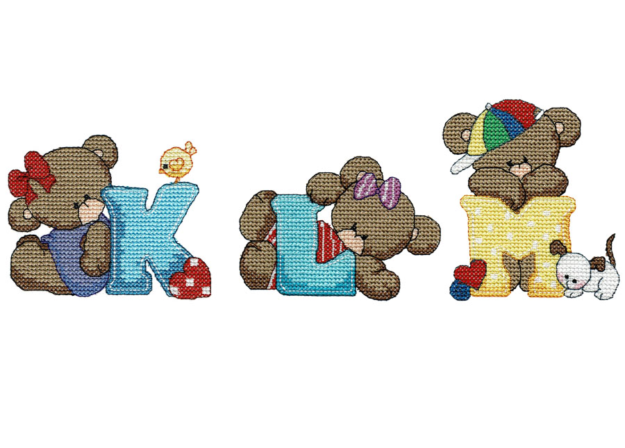 Free bear series letters K, L, & M