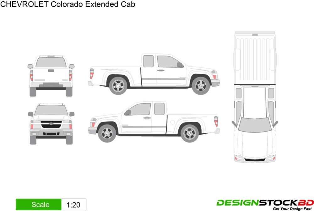 Chevrolet Colorado Extended Cab Vehicle Template Outline