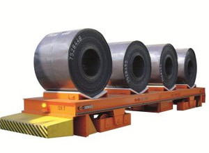 Rail Mounted Truck transporting large metal coils