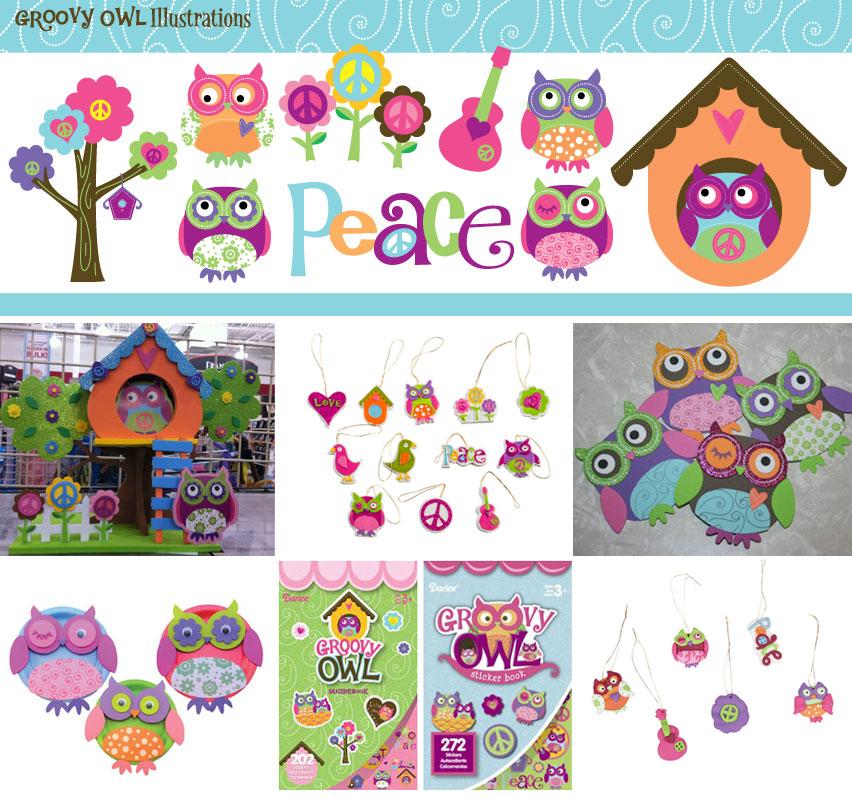 Groovy Owl Illustrations