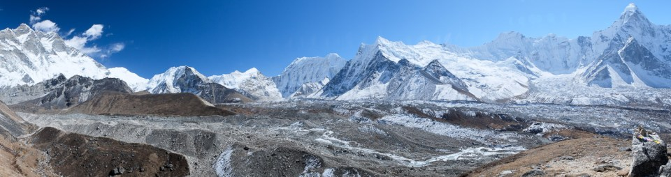 Panorama from outcrop at 5000m on Chhukung Ri.