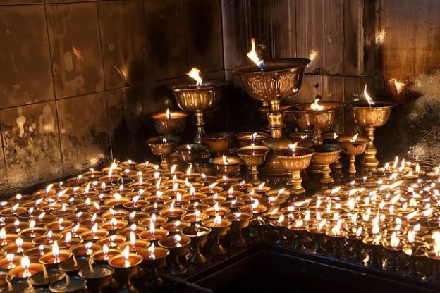 Butter lamps. Kathmandu