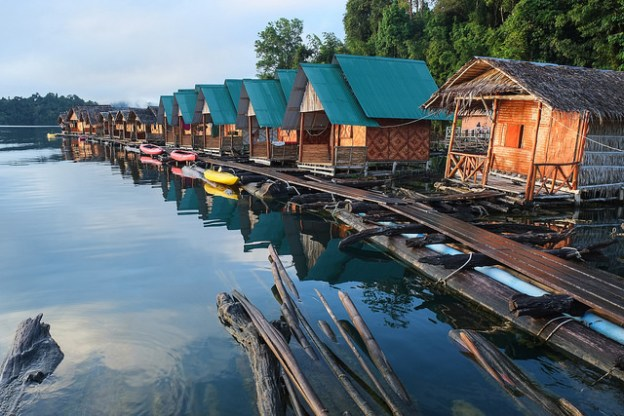 Floating bungalows at Khao Sok National Park