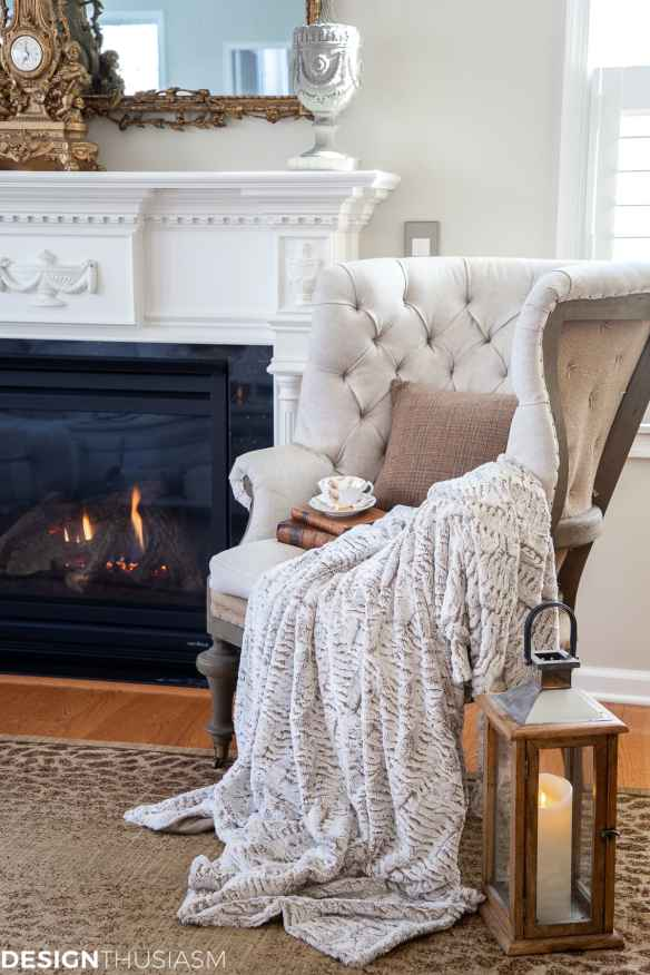 cozy winter decor by the fireplace