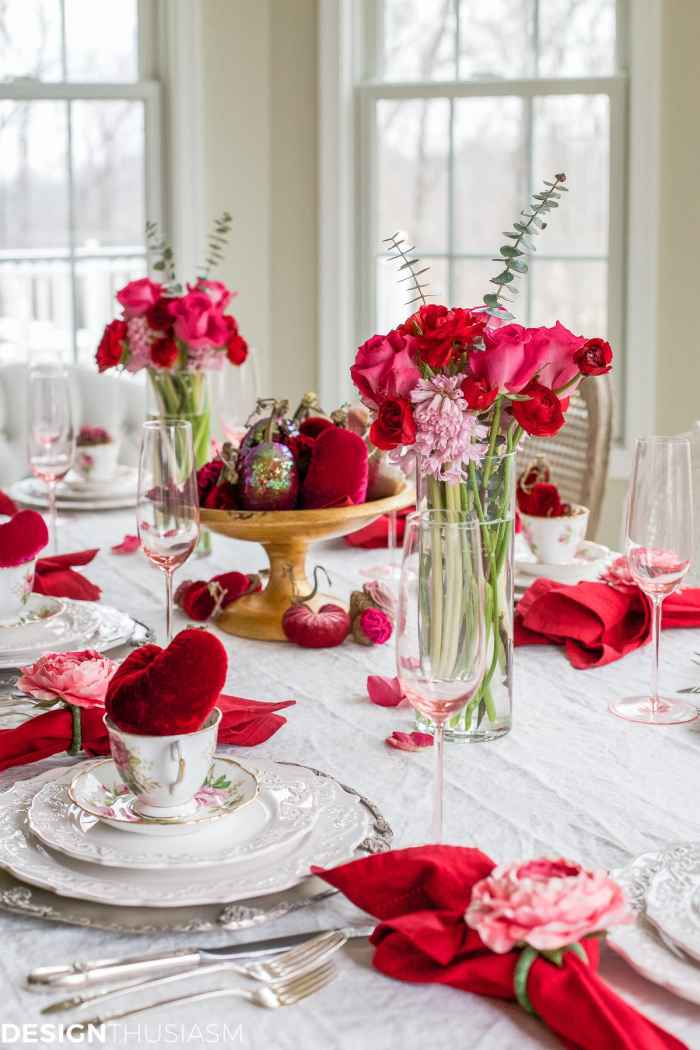 Valentine's Day Decorations: Velvet Hearts Tablescape | Designthusiasm.com