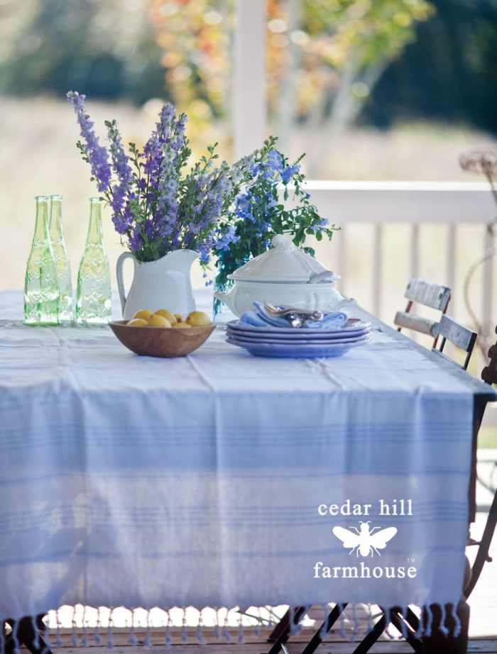 pine-table-with-blue-flowers