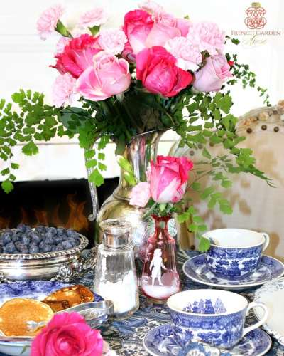 FrenchGardenHouse-Blue-White-Pink-Valentine-silver-pitcher