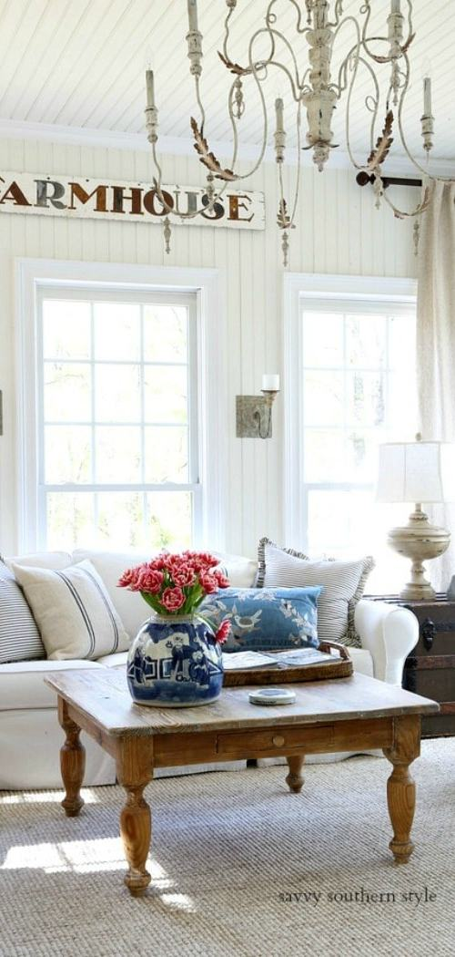 French farmhouse style sunroom