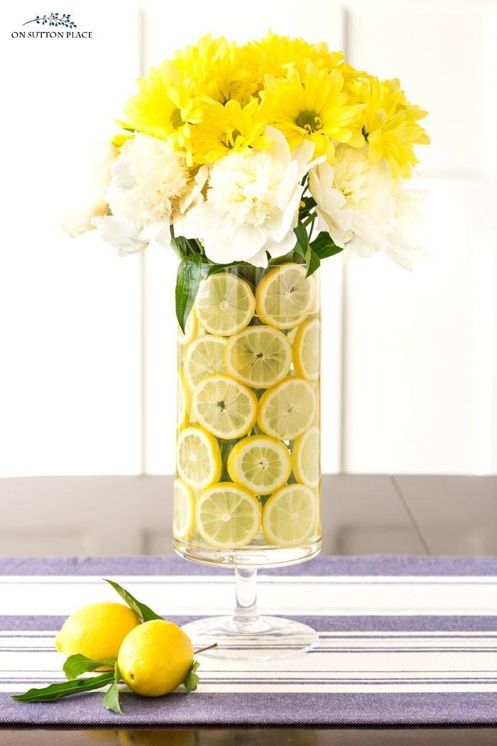 Lemon Flower Arrangement for Summer from On Sutton Place
