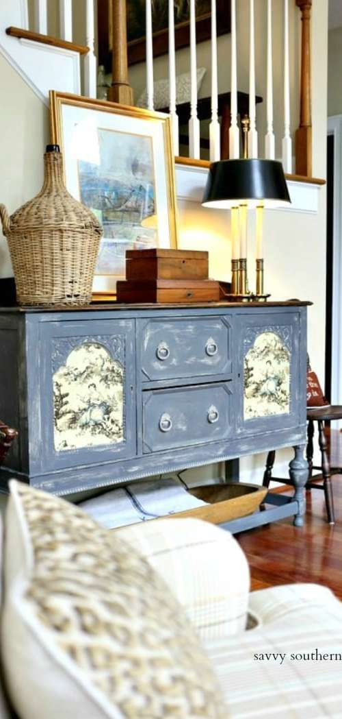 antique sideboard makeover with amy howard one step paint and toile fabric