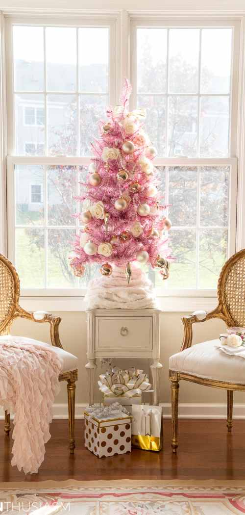 Using a Pink Christmas Tree for Romantic Holiday Style
