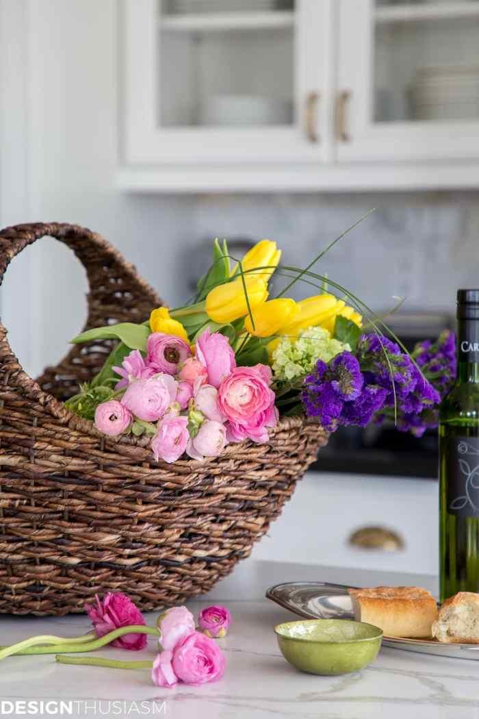 farmhouse spring decor basket of flowers