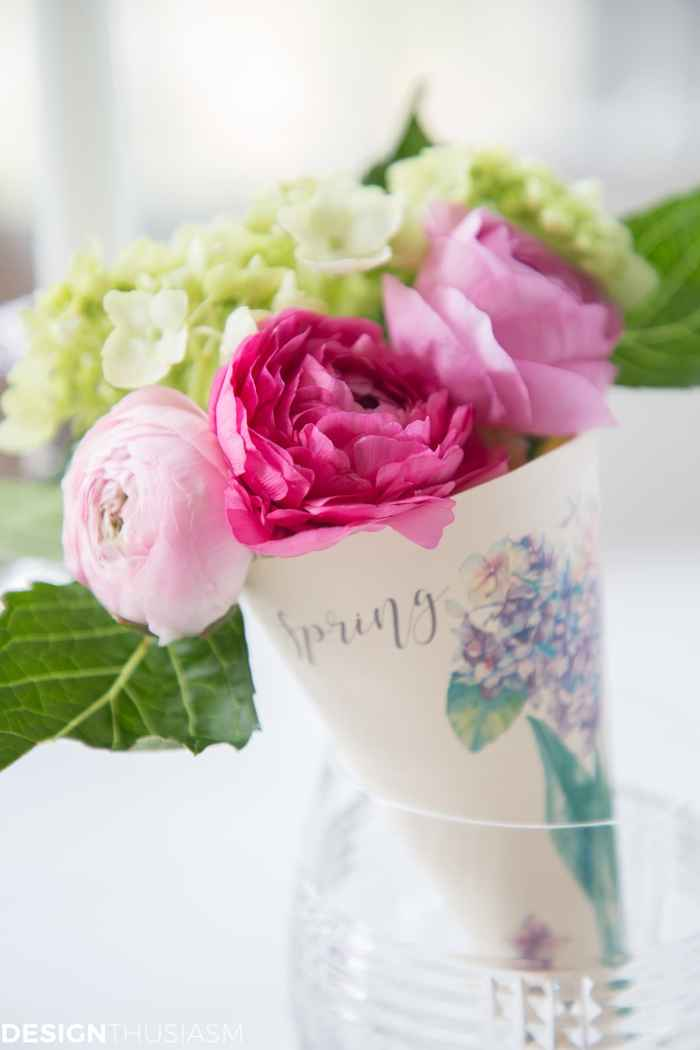spring printable paper cone posy with flowers