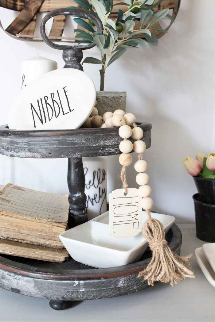 Boho Farmhouse Wood Bead Garland with Tassles