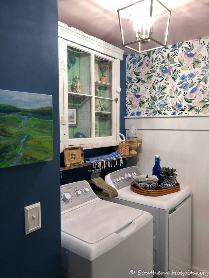 small-laundry-room-renovation-with-wallpaper