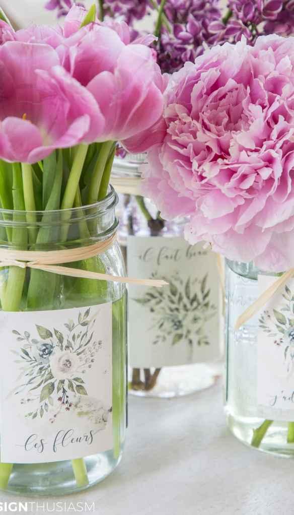 floral summer printables for mason jar labels